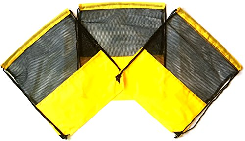 (3 Pack YELLOW MESH Nylon Drawstring Backpacks Sackpack Tote Cinch Gym Bag - Select from a Variety of Colors! (Regular, Yellow Mesh))