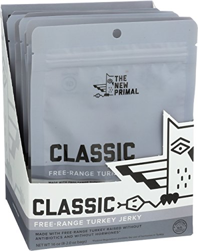 The New Primal Ginger & Honey Turkey Jerky, Paleo, Gluten & Soy Free, 100% Free-Range, Keto, No Added Sugar, 2 Ounce, 8 Pack