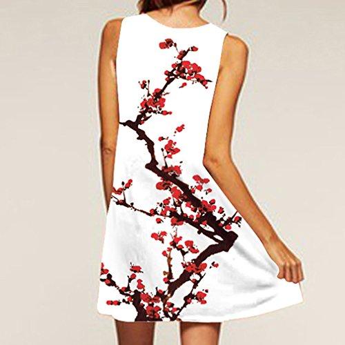 de Honghu Mangas Redondo Vendimia Mujeres de Cuello Verano de Sin la Blanco Impresión amp;rojo3 Vestido las la del nHqgHI