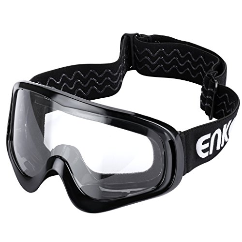 Enkeeo Motorcycle Goggles Anti-Scratch Cycling Googles Dust Proof Bendable Eyewear with Padded Soft Foam, Adjustable Strap for Adults' Cycling Skiing Climbing Shooting (Clear - Scott Eyeglasses