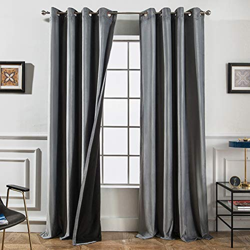 Melodieux 100% Blackout Velvet Curtains for Bedroom Living Room - Thermal Insulated Drapes with Black Liner, 52 by 84 Inch, Grey (2 Panels) ()