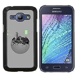 """Be-Star Único Patrón Plástico Duro Fundas Cover Cubre Hard Case Cover Para Samsung Galaxy J1 / J100 ( Montañas Potencia Esfera Gris"""" )"""