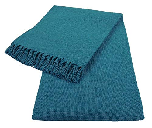 Kakaos Cotton Solid Color Yoga Blankets with Matching Tassels (Turquoise)