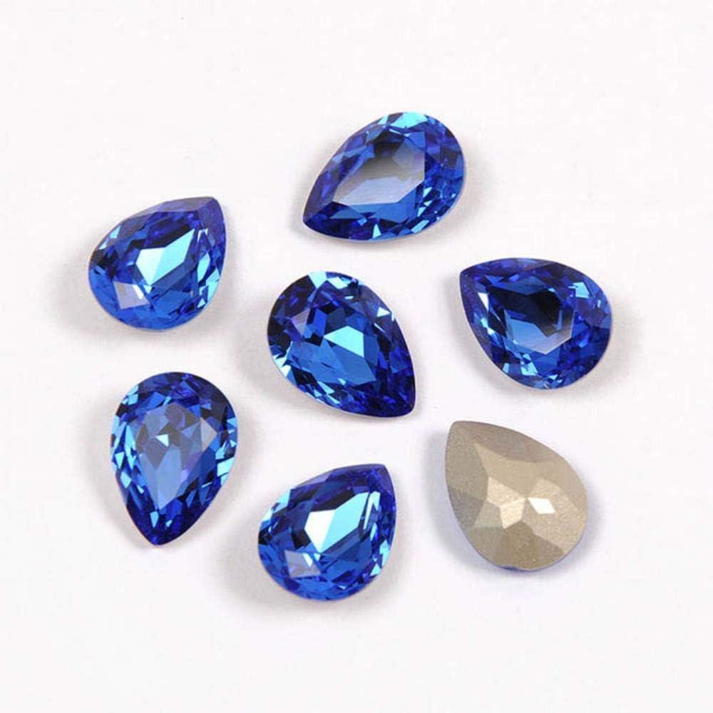 PENVEAT 4320 Drop Diamond Teardrop Glass Fancy Stones Coser en Cristales Costura al por Mayor con Garras Piedras Superiores para Vestido de Novia, Zafiro, con Garra Dorada