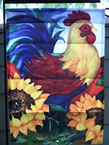 """Fall Rooster ~ Small Garden Flag 12"""" X 18"""""""