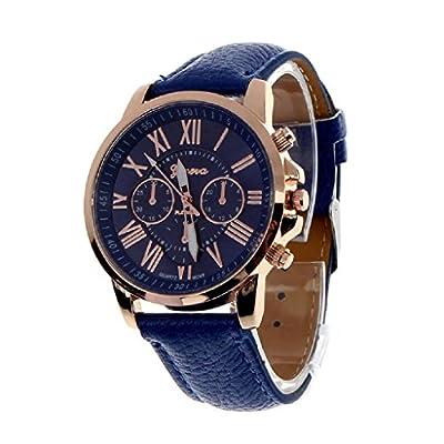 Beautyvan,Women's Geneva Roman Numerals Faux Leather Analog Quartz Watch Dark Blue by Beautyvan