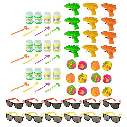 Pool Party Favors - 48-Pack Beach Theme Party Favors, Assorted Toys for Kids Summer Party, Includes 12 Water Guns, 12 Bubbles, 12 Sunglasses, 12 Splash Balls
