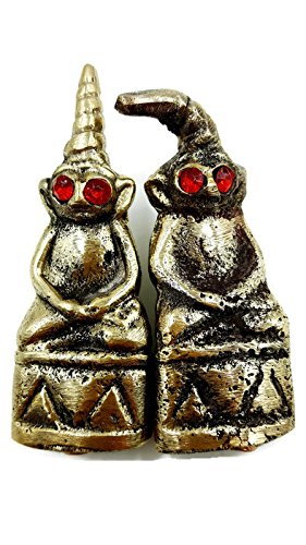 [2Pcs/Set New PhraNgang Red Eye Khmer Statue Magics Love Charm Holy Witchcraft Shaman Antique Thai Amulet Talisman With Special] (Good Witch And Bad Witch Costumes)