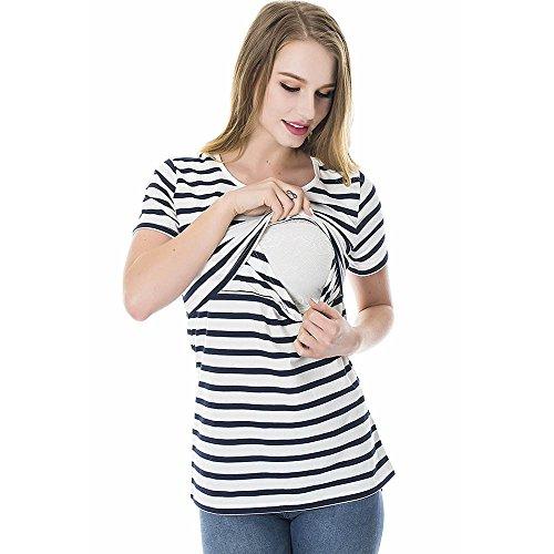 LEXUPA Women Striped Pregnant Nursing Baby for Maternity Multifunctionl Blouse T-Shirt White