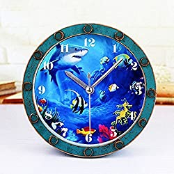 Gusnilo 5'' Beside Alarm Clock Shark Fishes Ocean Roman Numerals Vintage Wooden Pattern Silent Non-ticking Quartz Desk Clock Round Table Clock 3D Clock