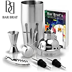 5 Piece Deluxe 24 Oz. Cocktail Shaker Bar Set by Bar Brat ™ / Bonus 130+ Cocktail Recipes (ebook) / Jigger, 2 Pour Spouts, Waiters Corkscrew / Mix Any Drink To Perfection