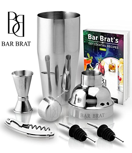 5 Piece Deluxe 24 Oz. Cocktail Shaker Bar Set by Bar Brat TM / Bonus 130+ Cocktail Recipes (ebook) / Jigger, 2 Pour Spouts, Waiters Corkscrew/Mix Any Drink To Perfection