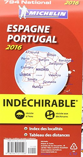 Carte National 794 : Espana / Spain / Espagne , Portugal - 2016 ; Indechirable ; tear-resistant (French Edition) 1