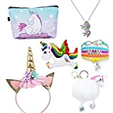 LIDAMI 6 Pc Unicorn Gift Set, Sparkly Unicorn Pendant Necklace& Leather Unicorn Charm Bracelet& Unicorn Headband& Fuzzy Unicorn Key Chain& Unicorn Makeup Bag& Squishy Unicorn Toys