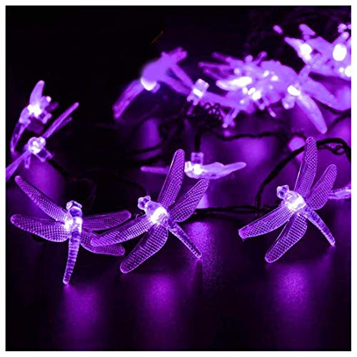SEMILITS Solar String Lights 20Ft 30LED Dragonfly Shaped Waterproof Fairy Decoration Lighting for Indoor/Outdoor,Patio Christmas Party Holiday Decorations