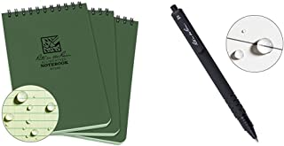 """product image for Rite in the Rain Weatherproof Top-Spiral Notebook, 4"""" x 6"""", Green Cover, Universal Pattern, 3 Pack (No. 946-3) & in the Rain All-Weather Durable Clicker Pen - Black Ink (No. 93K)"""