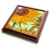 trv_100929_1 Florene Famous Art - Picture Of Van Goghs Heavily Textured Painting Sunflower - Trivets - 8x8 Trivet with 6x6 ceramic tile