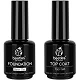 Beetles 2 Pcs 15ml No Wipe Gel Top Coat and Base Coat Set - Shine Finish and Long Lasting, Soak Off LED Gel