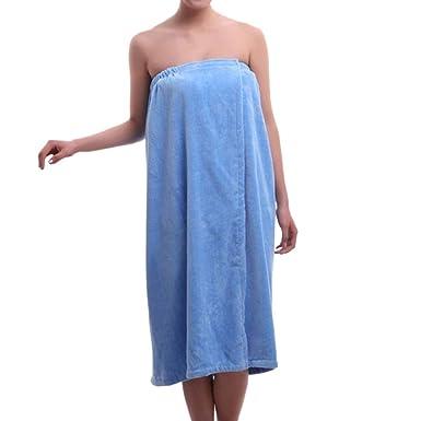 TopTie Mujeres de algodón Terry SPA Ducha Toalla de baño Wrap - Azul -: Amazon.es: Ropa y accesorios