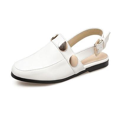 GAOLIXIA Femmes Chaussures Pu Printemps Eté Mode Sandales plates Chaussures confortables Noir Blanc