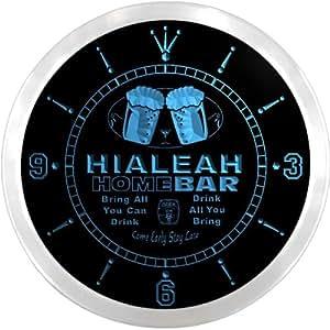 ncp2140-b HIALEAH Home Bar Beer Pub LED Neon Sign Wall Clock