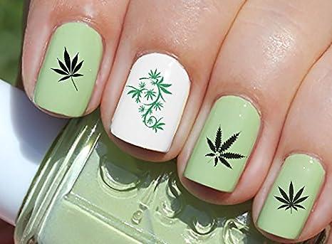 Amazon.com: Marijuana Pot Leaf Water Slide Nail Art Decals Set #2 ...