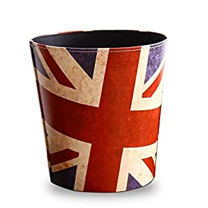 Kiaotime waste bin vintage decorative british london flag design waste paper for Bedroom waste baskets decorative