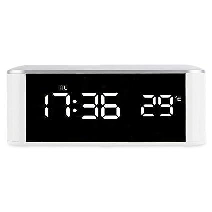 Amazon.com: LED Digital Alarm Clock Mirror Thermometer Night Light USB Cable Electronic Snooze Backlight Desktop Digital Table Clocks Watch: Home Audio & ...