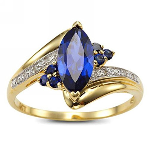 Suohuan Jewelry Marquise Cut Blue Created Sapphire & Cz Yellow Gold Plated Halo Engagement Promise Wedding Ring Band for Women Size 9 ()
