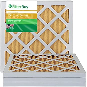 FilterBuy 10x10x1 MERV 11 Pleated AC Furnace Air Filter, (Pack of 4 Filters), 10x10x1 - Gold
