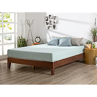 Zinus 12 Inch Deluxe Wood Platform Bed / No Boxspring Needed / Wood Slat Support / Antique Espresso Finish, Queen