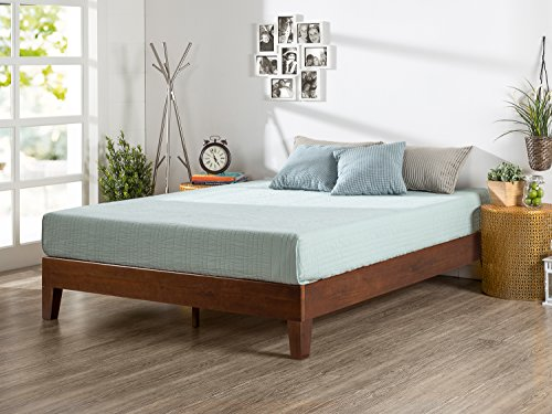 Zinus 12 Inch Deluxe Wood Platform Bed/No Boxspring Needed/Wood Slat Support/Antique Espresso Finish, (Pine Bed Frame)