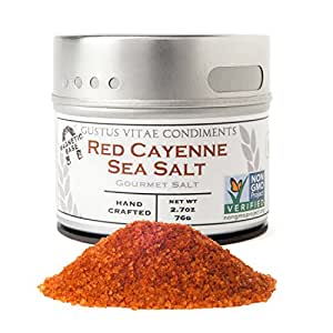 Gustus Vitae | Red Cayenne Sea Salt | Non GMO Verified | Magnetic Tin | Gourmet Seasoning | 2.7 Ounce | Crafted In Small Batches By Gustus Vitae | 21