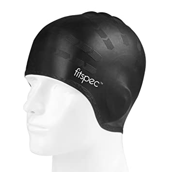 3d69894c707862 Fitspec Silicone Swimming Cap With Ear Pockets Anti Tear Durable Latex Free Swim  Cap For Men