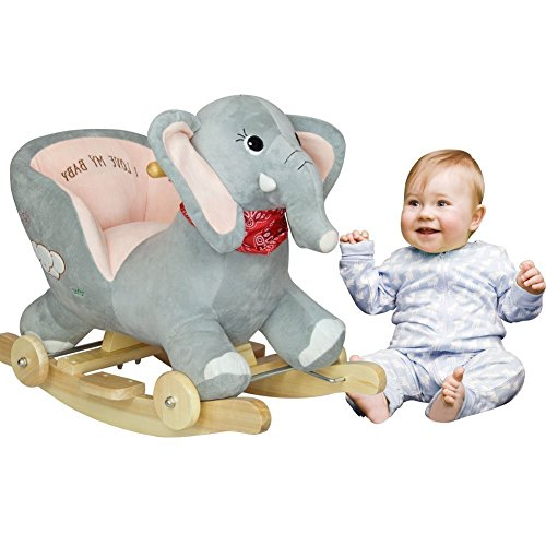 Rocking Elephant Ride On with Wheels - Grey