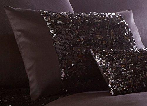 Boudoir Cushion (LUXURY SPARKLING SEQUIN FILLED BOUDOIR CUSHION 32cm x 50cm - DAZZLE CHARCOAL NEW)
