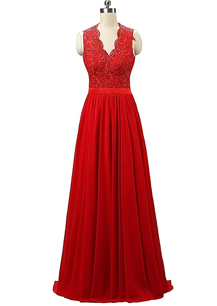 Red APXPF Women's Lace Backless Bridesmaid Prom Dress Evening Party Gown