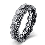 BEMI Classic Zircon CZ Diamond Stacking Promise Ring Party Jewelry Black Gold Statement Rings for Womens 9