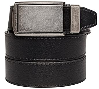 """SlideBelts Men's Animal-Friendly Leather Belt without Holes - Graphite Buckle / Black Leather (Trim-to-fit: Up to 48"""" Waist)"""