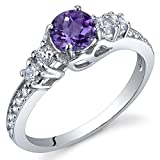 Enchanting 0.50 Carats Amethyst Ring in Sterling Silver Rhodium Nickel Finish Size 7