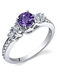 Enchanting 0.50 Carats Amethyst Ring in Sterling Silver Rhodium Nickel Finish Size 5 to 9
