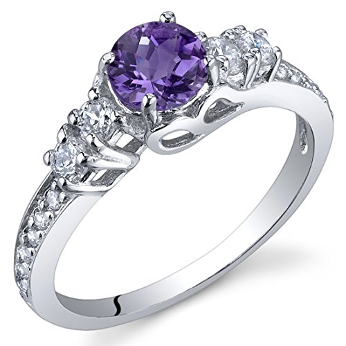 Enchanting 0.50 Carats Amethyst Ring in Sterling Silver Rhodium Nickel Finish Size 6