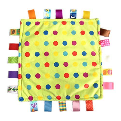 - G-Tree Tag Blanket Baby Infant Comfort Plush Security Blanket Cute Soft Kids Teething Toy Newborn Gift Birthday Present(Green Dot)