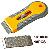 Ehdis® Car Sticker Remover Razor Blade Spatula Scraper Window Tint Tools Utility Knife for Window Glass Film Glue Removing + 10pcs Replaceable Double Sided Blade Razor