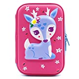 3D Cute Deer Hardtop Pencil Case - School Girls Colored Pencil Box Holder With Compartments - Kids Cosmetic Pouch Bag Stationery Organizer (Hot Pink)