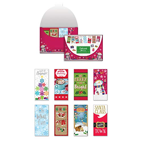 Pack of 24 Holiday Cards Tall Contemporary/Whimsical Christmas Enclosure Cards with Envelopes