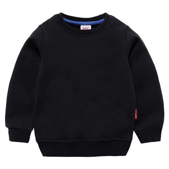 1d7aca9cd HAXICO Unisex Kids Solid Cotton Pullover Sweatshirt T-Shirt Toddler Baby  Boys Girls Crewneck Long