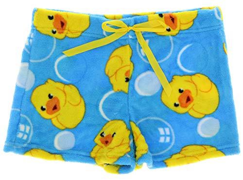 (Emme Jordan Junior's Fuzzy Plush Pajama Shorts (Small, Rubber Ducks))