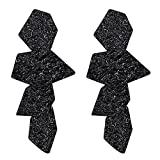 LILIE&WHITE Geometric Wrinkled Drop Earrings For Women Gothic Jewelry Jet