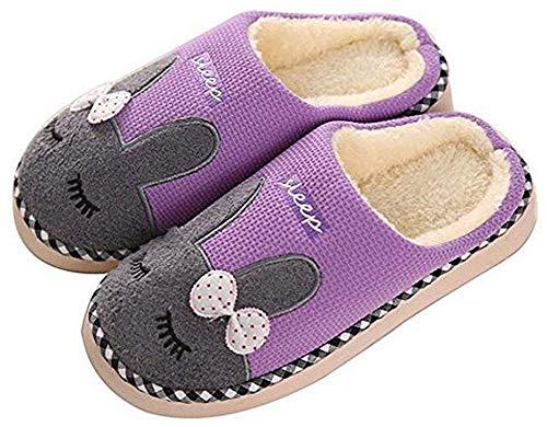 Douce Chaudes Mules Intérieure Pantoufles Femme Accueil Coton Violet Automne Eagsouni Peluche Slippers Chaussures Chaussons Homme Hiver Doublure 4wPc1